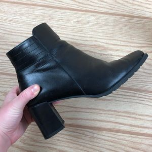 ECCO Black Square Toe Chucky Heeled Ankle Boot